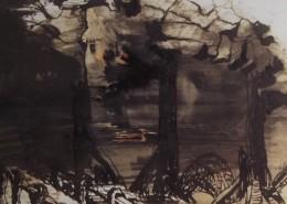 Ce détail d'un dessin de Victor Hugo représente les ruines (poutres verticales calcinées soutenant encore une arche à demie effondrée) d'un bâtiment incendiée. À qui la faute ?