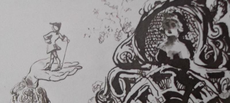 Ce détail de deux dessins de Victor Hugo représente un homme qui marche sur une main, bicorne sur la tête et canne à la main et un buste de femme dans son médaillon apparemment indifférente. L'éternelle chanson ?
