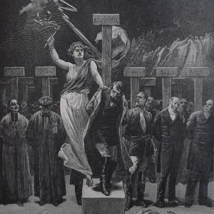 Gravure en noir et blanc qui représente Napoléon III puni par une allégorie de la justice, ainsi que tous le corrompus qui le soutinrent : Sibour, Troplong, Saint-Arnaud, Dupin...