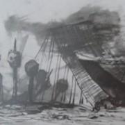Ce détail d'un dessin de Victor Hugo représente trois têtes empalées devant une tente ouverte.