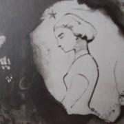 Ce détail d'un dessin de Victor Hugo représente une jeune femme (Léopoldine) dans un médaillon blanc entouré de noirceur. Dans un arrondi de ce médaillon est écrit FRACTA JUVENTUS.