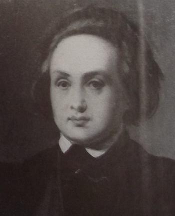 Victor Hugo en 1833, les cheveux rejetés en arrière, avec un large front.
