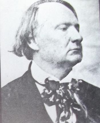 Portrait photographique de Victor Hugo, de profil, le regard triste, le front dégarni, les cheveux rejetés sur le côté.
