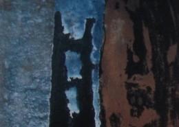 Ce détail d'un dessin de Victor Hugo représente une ombre de tour accolée à une autre tour au premier plan, d'un brun clair, avec le ciel bleu en fond.