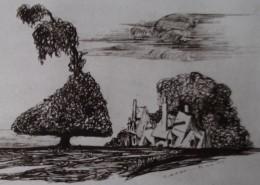 Ce détail d'un dessin de Victor Hugo représente l'aurore sur un arbre tordu et un village en arrière-plan.