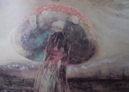 Ce détail d'un dessin de Victor Hugo représente un champignon amanite tue-mouches se dressant dans la campagne, avec son chapeau comme une coccinelle à points blancs.
