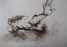 Un bras est tendu, la main relevée pour empêcher le mal, telle la conscience devant une mauvaise action.