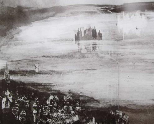 Ce détail d'un dessin de Victor Hugo représente les hauteurs d'une ville donnant sur un lac dans lequel apparaît une autre ville, elle-même reflétée par son négatif en écho.