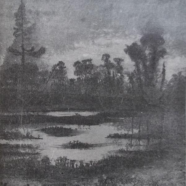 Gravure en noir et blanc qui représente un étang au crépuscule.