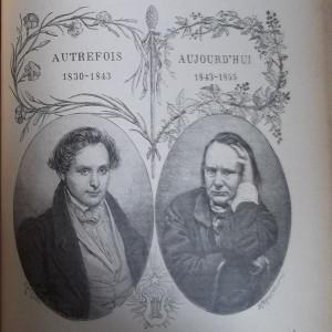 Gravure en noir et blanc sur laquelle deux médaillons représentent Victor Hugo à deux âges de sa vie et surmontés, l'un de «Autrefois», l'autre de «Aujourd'hui».