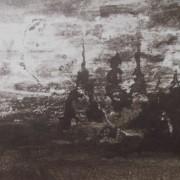 Ce détail d'un dessin de Victor Hugo représente un château pris dans une tourmente, un violent orage, ou un essaim de djinns.
