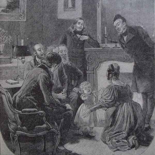 Gravure en noir et blanc qui représente le salon de Victor Hugo.