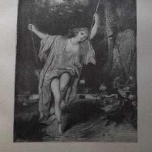 Gravure en noir et blanc qui représente une femme.... orientale, couverte d'un léger voile révélant sa nudité, assise dans la nature, sur une balançoire.