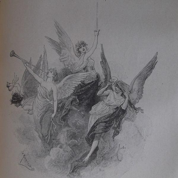 Gravure en noir et blanc qui représente les quatre vents de l'esprit : quatre anges féminins arborant les symboles de leur fonction.