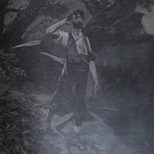 Gravure en noir et blanc représentant un chasseur au regard surpris.