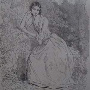 Gravure en noir et blanc qui représente une jeune femme accoudée en pleine forêt.