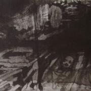 Ce détail d'un dessin de Victor Hugo représente une soupente dans laquelle semblent allongés des corps. On distingue un visage tourmenté.