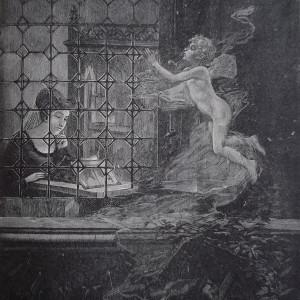 Gravure en noir et blanc qui représente une femme en train de lire près de sa fenêtre. À l'extérieur, un angelot l'observe.