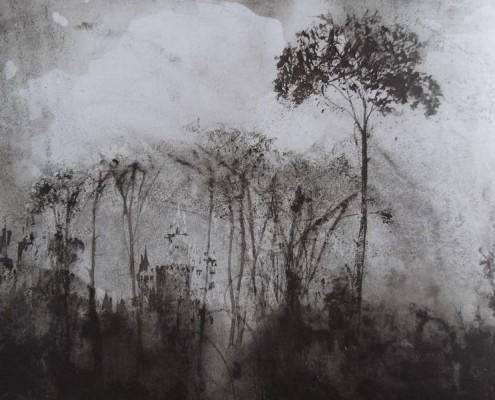 Ce détail d'un dessin de Victor Hugo représente un château qui apparaît derrière un rideau d'arbres, après une pluie d'été.