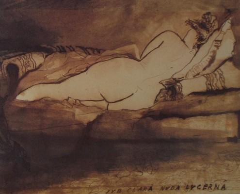 Ce détail d'un dessin de Victor Hugo représente une jeune femme couchée dos tourné à l'observateur. SUB CLARA NUDA LUCERNA est inscrit en bas à droite du dessin.
