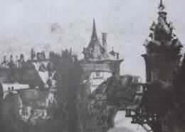 Ce détail d'un dessin de Victor Hugo représente deux tours perchées et jointes par un pont au-dessus du gouffre.