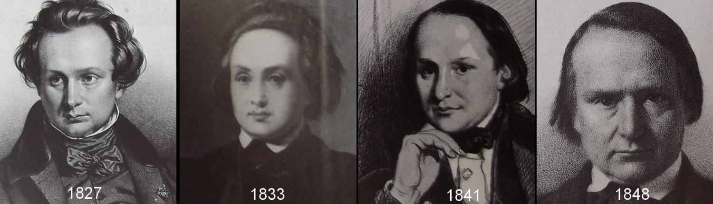 Victor Hugo est représenté par quatre portraits accolés, en 1827, en 1833, en 1841 et en 1848.