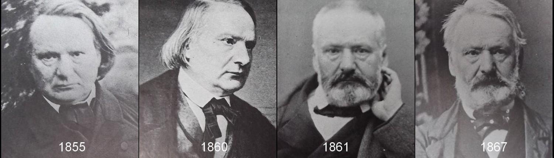 Victor Hugo est représenté par quatre portraits accolés, en 1855, en 1860, en 1861 et en 1867.