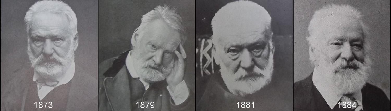 Victor Hugo est représenté par quatre portraits accolés, en 1873, en 1879, en 1881 et en 1884.