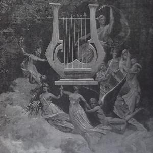 Gravure en noir et blanc qui représente une lyre entourée par les muses.