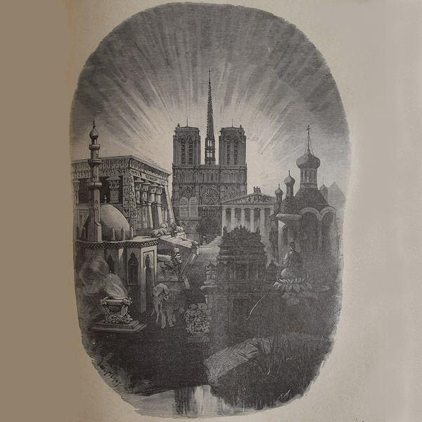 Gravure en noir et blanc qui représente la cathédrale Notre-Dame de Paris entourée de toutes les églises et de tous les temples.