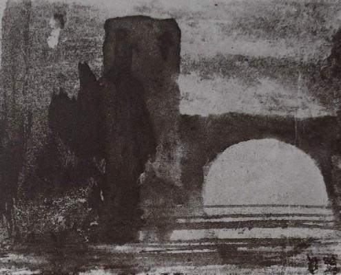 Détail d'un dessin de Victor Hugo qui représente la tour splendide et haute qui contient le sombre beffroi et le pont qui enjambe une rivière en direction de Mademoiselle J. (Juliette Drouet)