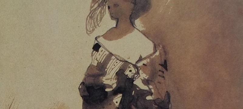 Ce détail d'un dessin de Victor Hugo représente une femme avec un décolleté et sa mante, ce qui permet au poète de la saluer par : Ave dea.