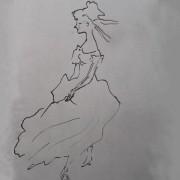 Ce détail d'un dessin de Victor Hugo représente une jeune femme rougissant dans sa robe.