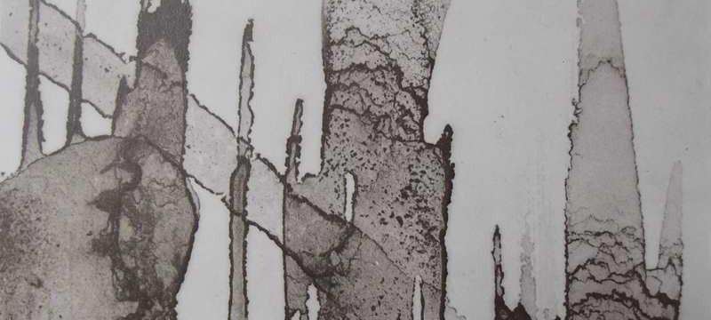 Ce détail d'un dessin de Victor Hugo représente des coulures de taches verticales rayées par une en diagonale.