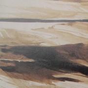 Ce détail d'un dessin de Victor Hugo représente, de façon abstraite, des taches d'ombre en mouvement avec une ligne sombre sur l'horizon.
