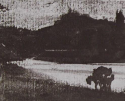 Ce détail d'un dessin de Victor Hugo représente une campagne au bord d'un lac, avec un arbre au premier plan et la silhouette d'un moulin sur une colline au-dessus de ce lac.