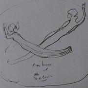 Ce détail d'un dessin de Victor Hugo représente deux êtres (deux âmes ?) qui se croisent dans un cercle dessiné à la main, avec les mots «Sum horor et dolor» inscrits juste en dessous.