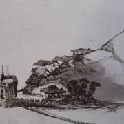 Ce détail d'un dessin de Victor Hugo représente un village agrippé à la montagne et plongeant dans la mer, avec sa tour près de laquelle sont amarrés des voiliers.