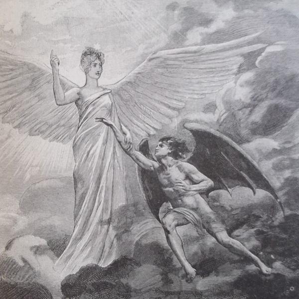 Un ange déchu (masculin) tend un bras vers un ange de gloire (féminin), au-dessus des nuages.