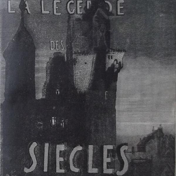 Ce détail d'un dessin de Victor Hugo représente un château, sombre, avec l'inscription LA LEGENDE DES SIECLES.