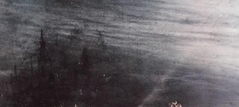 Ce détail d'un dessin de Victor Hugo représente les fragments d'une ville disparue, engloutie dans des profondeurs.