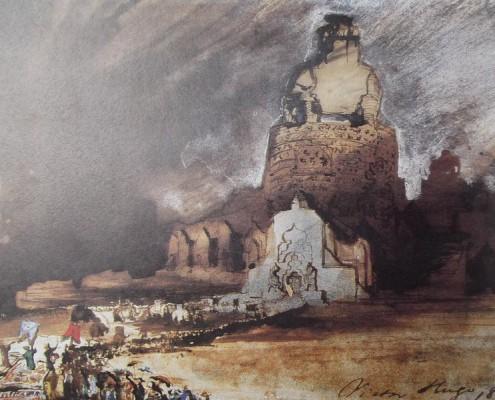 Ce détail d'un dessin de Victor Hugo représente une cité Moloch vers laquelle se dirige des populations brandissant des oriflammes. La signature de Victor Hugo est visible en bas à droite avec la date 1860.