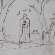 Ce détail d'un dessin de Victor Hugo représente un être couvert d'une cagoule et d'une grande robe avec un œil pectoral ; deux êtres aux cheveux dressés l'entourent derrière un arbres qu'ils tiennent en leurs bras sans mains. Au fond, le disque solaire apparaît.