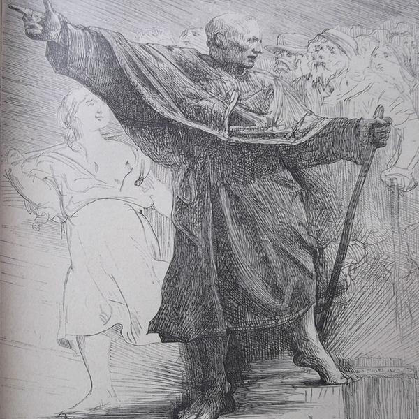 Gravure en noir et blanc qui représente le pape indiquant le chemin à son troupeau.