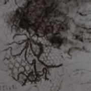 Ce détail d'un dessin de Victor Hugo représente un visage en haut à droite, un autre en diagonale ainsi qu'un lézard stylisé (ou un dinosaure) et de la dentelle avec, en bas à gauche, le mot « DENTELLES ».