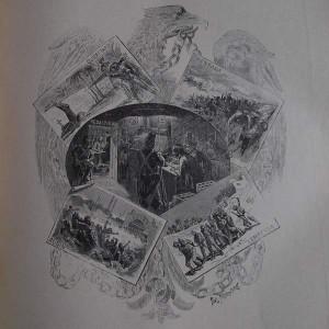 Gravure en noir et blanc qui représente différentes scènes du règne de Napoléon III, comme des cartes postales devant un aigle tenant un chaîne en son bec. On peu lire Mentana, Lambessa, Aubin, Queretaro.