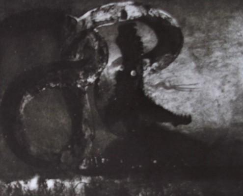 Ce détail d'un dessin de Victor Hugo représente un dragon entortillé dans les nœuds de son corps, gueule ouverte , et jetant ses flammes.