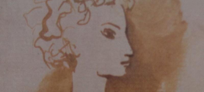 Ce détail d'un dessin de Victor Hugo représente le visage de profil d'une jeune femme sur un fond ocre.