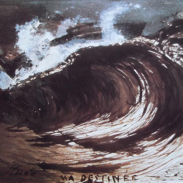 Ce détail d'un dessin de Victor Hugo représente une vague de l'océan en furie, avec ces mots : «MA DESTINÉE»