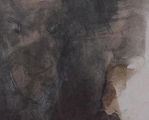 Ce détail d'un dessin de Victor Hugo représente l'ombre (le diable) qui s'approche de la lumière avec un regard torve, donnant ainsi lieu à une première réflexion.